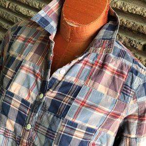 J Crew Madras Plaid Patchwork Cotton Shirt Size 6